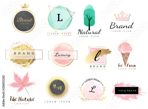 Cuadros en Lienzo Logo watercolor background banner for wedding,luxury  logo,banner,badge,printing,product,package