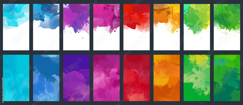 Fototapeta Big set of bright vector colorful watercolor background for poster, brochure or flyer