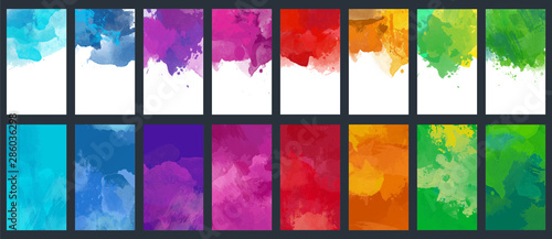 Obraz Big set of bright vector colorful watercolor background for poster, brochure or flyer - fototapety do salonu