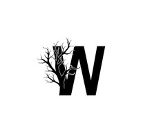 W Letter And Dead Branch  Logo Icon.