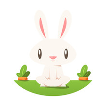Cartoon Rabbit With Carrots Vector Isolated Illustration