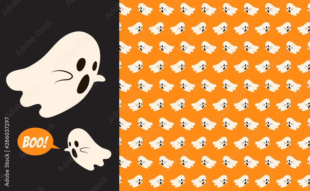 Fototapeta Halloween ghost seamless pattern background. Holidays cute ghost cartoon character vector illustration