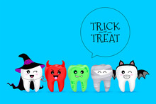 Cartoon Spooky Tooth In Halloween Costumes. Trick Or Treat, Halloween Concept. Illustration Isolated On Blue Background.