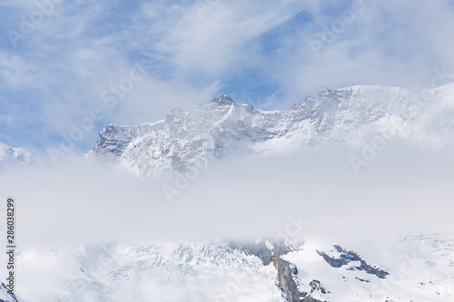 Fototapety, obrazy: Scenic view on snowy mountains in cloudy day, view on snowy Matterhorn, Zermatt, Switzerland