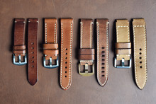 Watch Straps, Genuine Handcraft Italian Calfskin Leather With White Top Stitching, Group Of Stylish Wristwatch Straps, Men Fashion And Accessories.