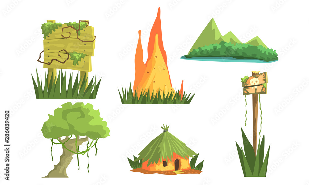 Fototapeta Jungle Landscape Elements Set, User Interface Assets for Mobile App or Video Game Vector Illustration
