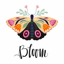 Floral Card/poster/fashion Textile Design With Decorative Floral Moth And Hand Lettering Isolated On White Background