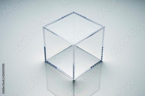 Photo empty acrylic cube