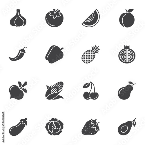 Photo  Healthy fruit and vegetable vector icons set, modern solid symbol collection, filled style pictogram pack