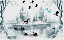 Monochrome Illustration, Lake,...