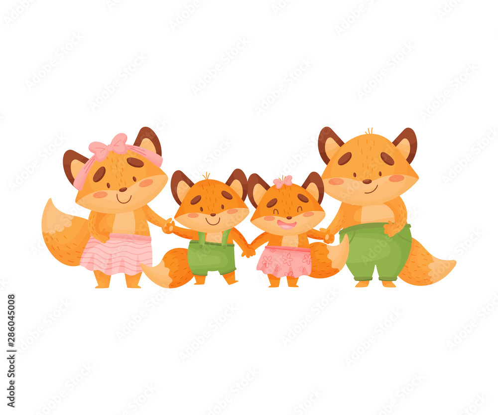 Fototapety, obrazy: Family of foxes holds hands. Vector illustration on a white background.