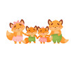 Family of foxes holds hands. Vector illustration on a white background.