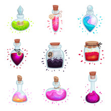 Set Of Glass Flasks With Potions. Vector Illustration On A White Background.