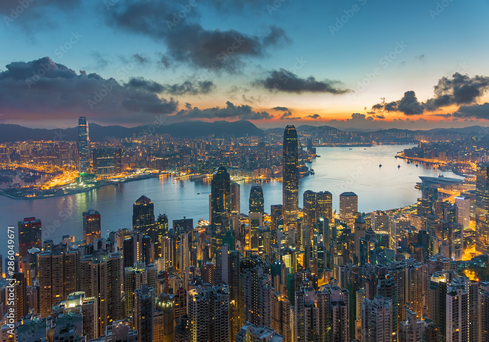Fototapety, obrazy: Victoria harbor of Hong Kong city at dawn