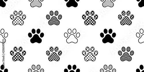 dog paw seamless pattern vector footprint checked polka dot heart stripes french Canvas Print