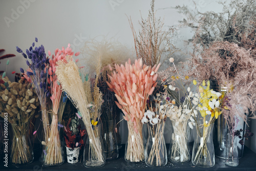 Colorful dried flowers on shelf #286050863