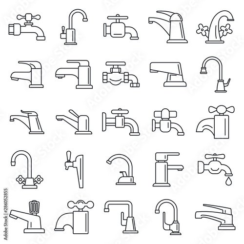 Water faucet icons set Canvas-taulu