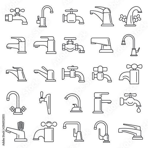 Fotografiet Water faucet icons set
