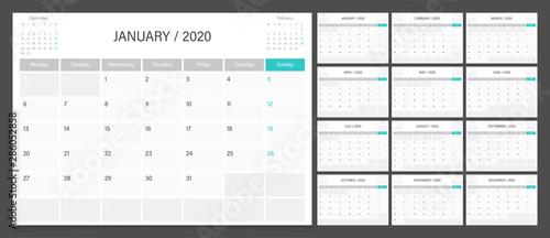 Obraz Calendar 2020 week start Monday corporate design planner template. Calendar planner A4 size. - fototapety do salonu