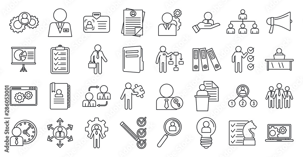 Fototapeta Manager icons set. Outline set of manager vector icons for web design isolated on white background