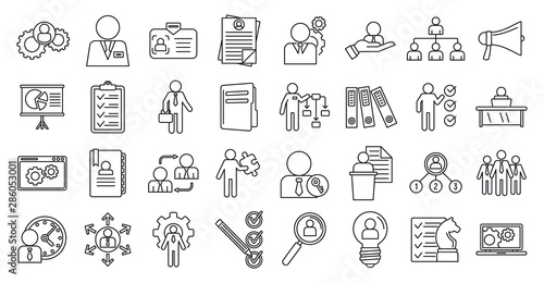 Obraz Manager icons set. Outline set of manager vector icons for web design isolated on white background - fototapety do salonu