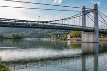 View On The Suspension Bridge On The Rhone River, Condrieu, France