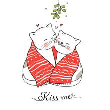 Draw Cat Kissing Under A Mistletoe Christmas Day.