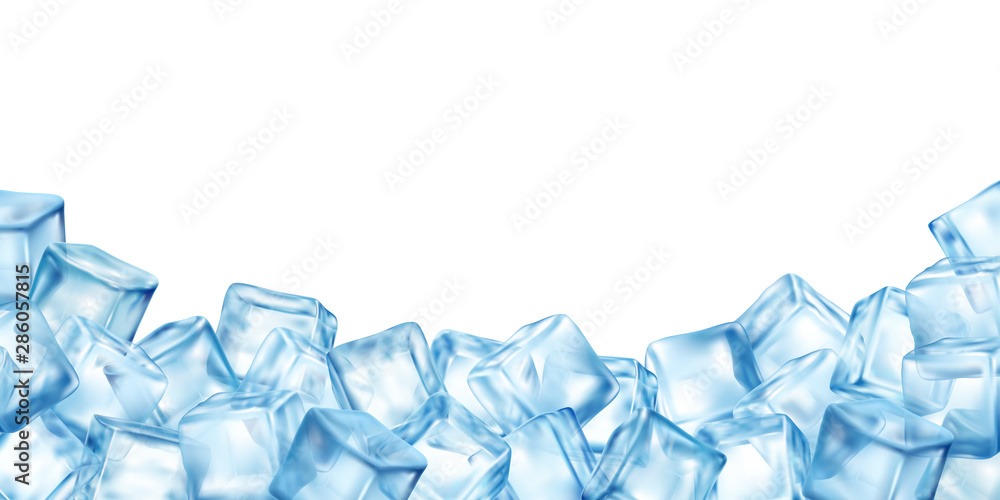 Fototapeta Ice Cubes Blocks Frame