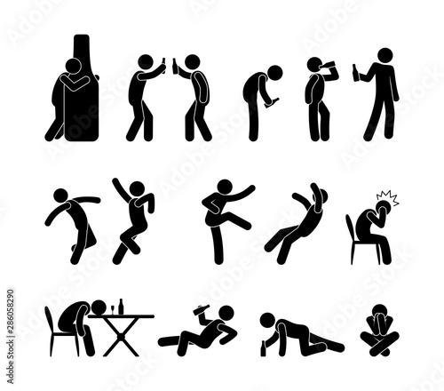 Drunk people in different situations Billede på lærred