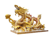 Golden Chinese Golden Dragon Statue On White Background