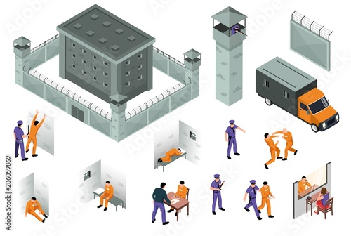 Vászonkép  Jail Isometric Icons Set