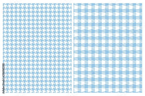 Photo Simple Vector Pattern with Blue and White Houndstooth and Grid
