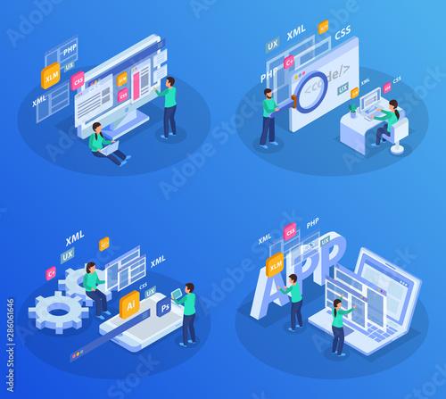 Web Development Isometric Concept Wallpaper Mural