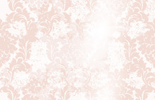 Classic Elegant Ornament Pattern Watercolor Vector. Pink Delicate Color Textures