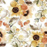 Seamless watercolor pattern with a bouquet of sunflowers on a white background - 286064850
