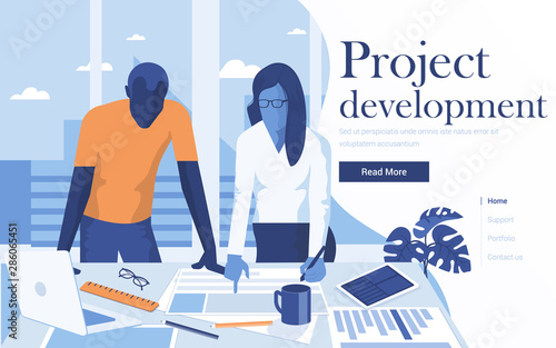 Flat Modern design Illustration of Project Development