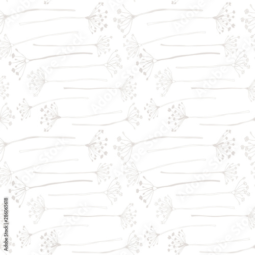 Botanical floral vector seamless pattern with hand drawn herbs, plants, flowers and leaves Fototapet