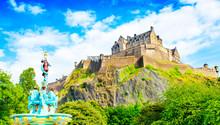 Edinburgh Castle Skyline And Ross Fountain, Scotland