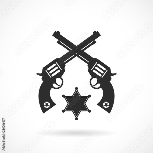 Fotomural Crossed revolvers vector icon
