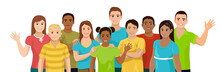 Group Of Children Of Different Ethnicity. Kids And Teenagers, Boys And Girls Are Stand And Smile. Vector Illustration Isolated On White Background.