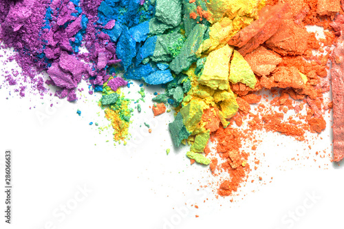 A broken rainbow colored eye shadow smear, make up palette isolated on a white background Fototapet