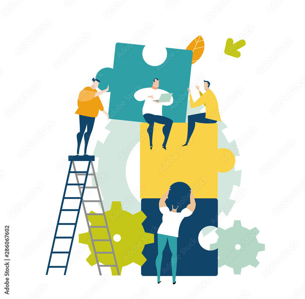 Fototapeta Group of young business people working together with puzzles as symbol of collaborating, solving problems, thinking about creative idea, brainstorming and teamwork concept. Flat style illustration.