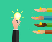 Hand Holding Light Bulb As Idea Symbol And Others Raising Money As Crowdfunding Concept.