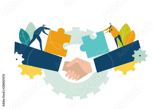 Obraz Two young business people working with puzzles as symbol of collaborating, solving problems, thinking about creative idea, brainstorming and teamwork concept. Flat style illustration. - fototapety do salonu