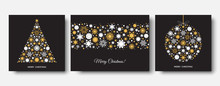 Christmas And  New Year Black Background With Gold Snowflakes.