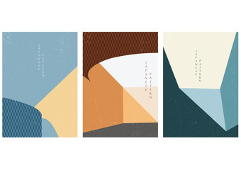 Architecture background with Japanese pattern vector. Geometric template in vintage style.