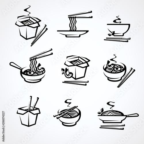 Noodle set. Collection icon noodles. Vector Wallpaper Mural