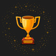 Leinwanddruck Bild - Winner gold cup. First place prize. The winner s goblet. Tropy reward. cartoon style