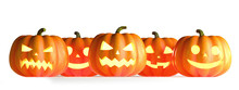 Five Halloween Pumpkins In A Row Isolated On White Background. 3D Rendering Illustration