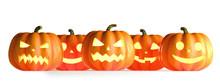 Five Halloween Pumpkins In A R...